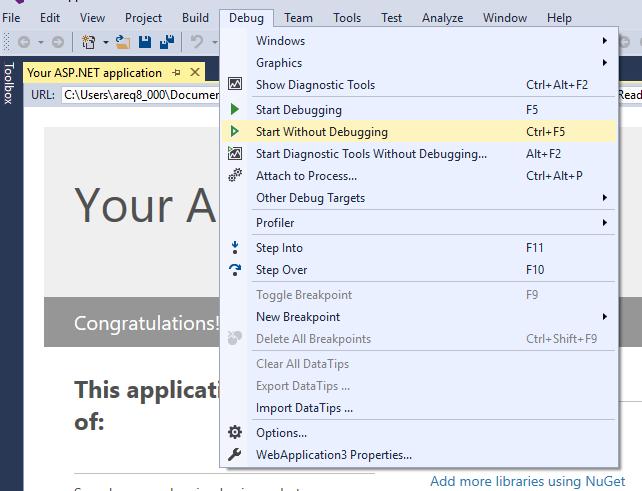 Start without debugging